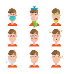 season and other disease avatars man face made in vector image