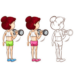 Doodle character for woman doing weight training vector