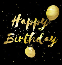 Happy birthday greeting card with golden stylish vector
