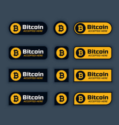 Bitcoins cryptocurrency buttons or labels set vector