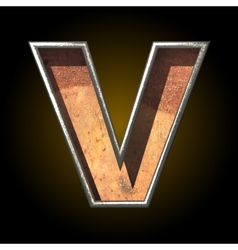 Old metal letter v vector