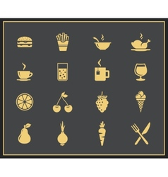 Food and drinks icon set vector