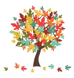 Stylized autumn tree with falling leaves for vector