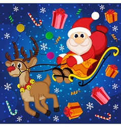 Santa claus on sledge with reindeer vector