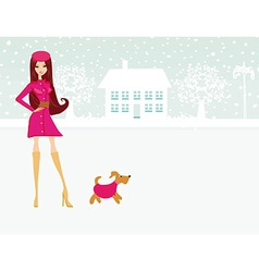 Fashion winter girl walk with her dog vector