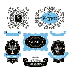 Set of wedding frames and labels vector