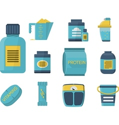 Sport supplements flat blue icons vector image
