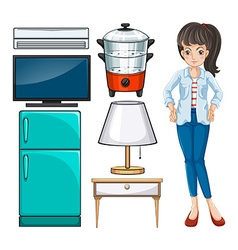 Woman and household equipment vector