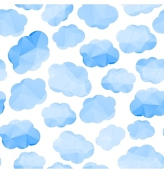Polygonal seamless pattern with clouds vector