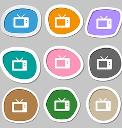 Retro tv mode icon symbols multicolored paper vector