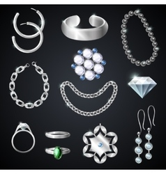 Jewelry silver set vector