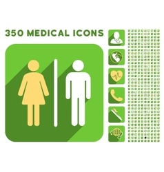 Wc people icon and medical longshadow icon set vector
