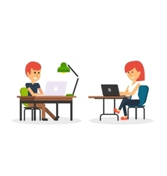 People work in office design flat vector