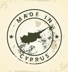 Stamp with map of cyprus vector