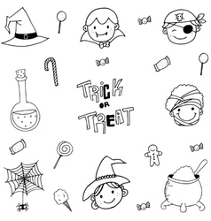 Doodle of magician face halloween vector image