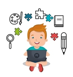 Boy studying online isolated icon design vector