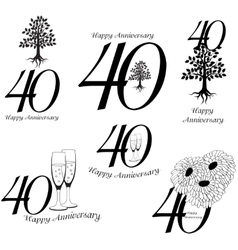 Anniversary 40th signs collection vector