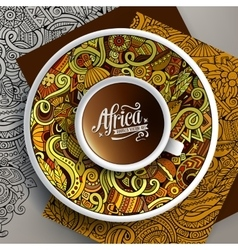 African doodle cup of coffee vector