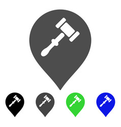 Auction hammer marker flat icon vector