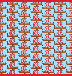Background pattern with viking long ship vector