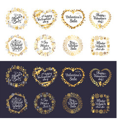 big winter sale and happy valentine s day set vector image vector image