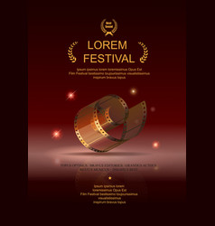 Camera film 35 mm roll gold festival movie poster vector image vector image
