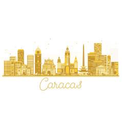 Caracas venezuela city skyline golden silhouette vector