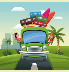 Couple bus travel vacation luggage road landscape vector