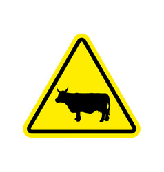 cow warning sign yellow farm hazard attention vector image