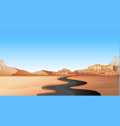 empty road through desert land vector image vector image