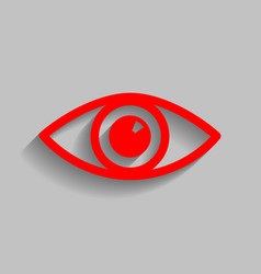 Eye sign red icon with soft vector