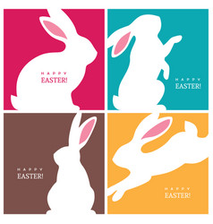 four creative design concepts with easter bunnies vector image