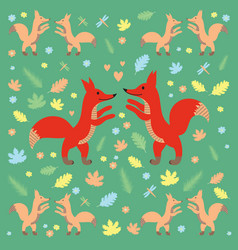fox pattern dark green vector image