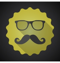 Glasses with Mustuches Flat Icon with long shadow vector image