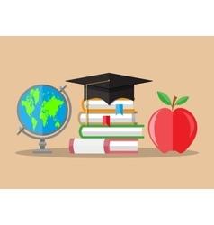 Graduate hat globe books apple education vector image vector image