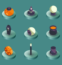 halloween color isometric icons vector image vector image