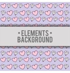 Hearts diamonds background elements design vector
