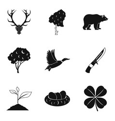 hunting party icons set simple style vector image vector image