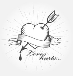love hurts valentines day - heart with arrow vector image vector image