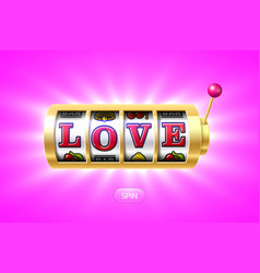 love word on gold slot machine vector image vector image