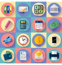 Money and bank icon set Flat designed style vector image