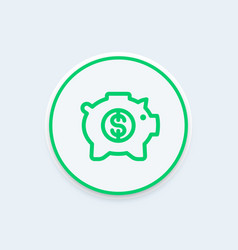 moneybox line icon money box pig piggy bank vector image vector image