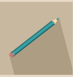 pencil in flat style with long shadow vector image