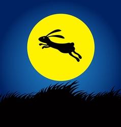 Rabbit on moon concept 2 vector