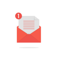 Red open envelope with check list and shadow vector