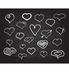 Scribble chalk heart icons set vector