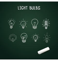 set of Hand-drawn light bulbs doodle icons on vector image vector image