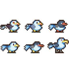 Set of pixel birds vector