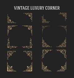 Set of vintage luxury corner design vector