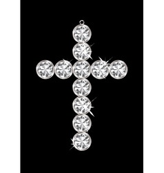 silver diamond cross vector image